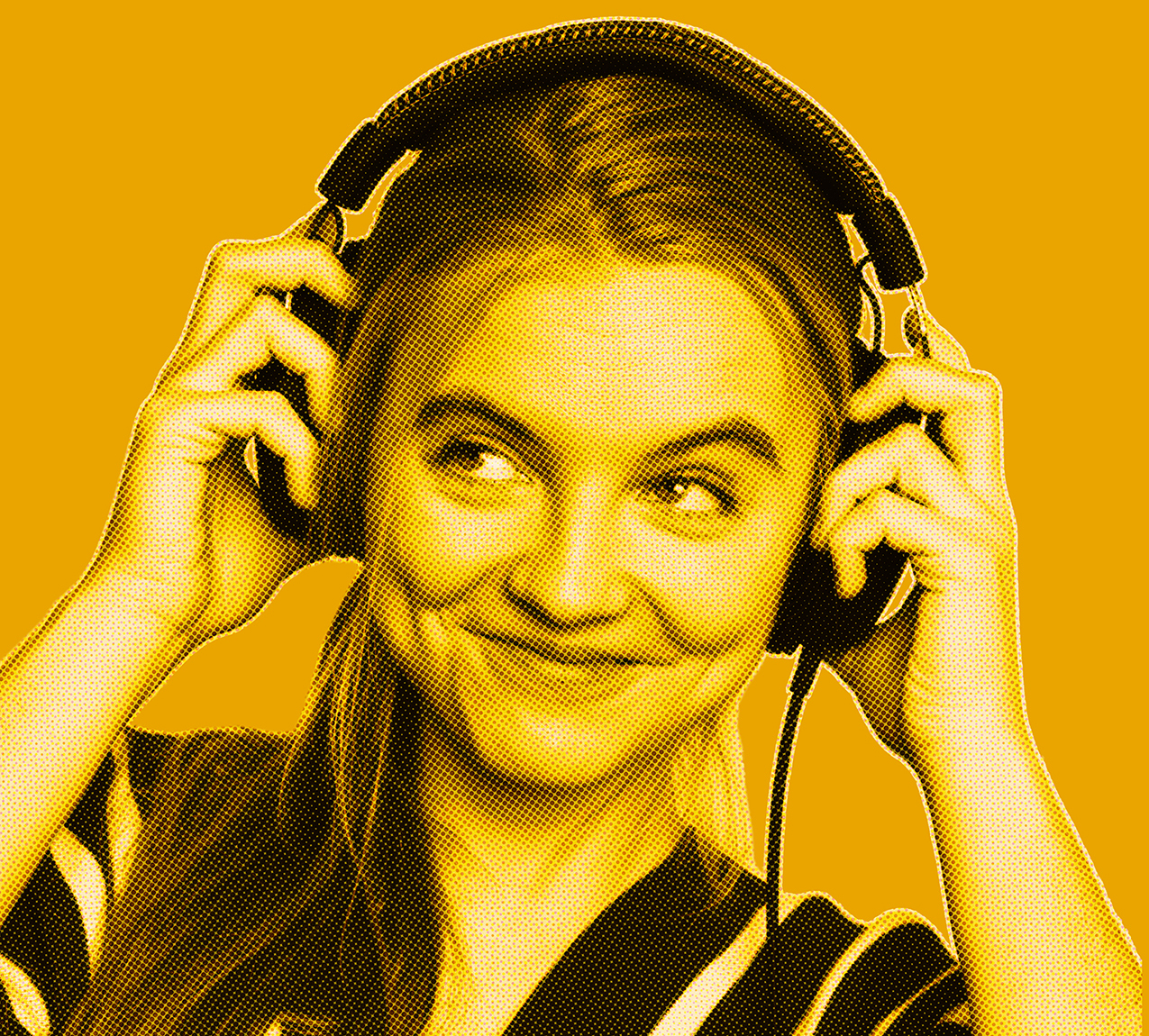 Yellow filtered picture of woman's head smiling looking to the side while wearing and holding headphones with her hands