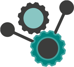 Black and turquoise logo symbolizing settings