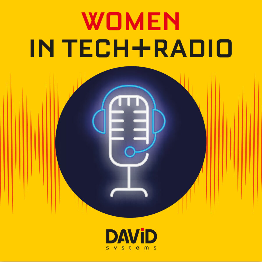 Women in Tech + radio logo: microphone and headphone in a dark bubble over a red soundwave
