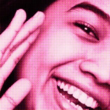 Pink-filtered partial portrait of a woman smiling holding her right hand to the side of her face
